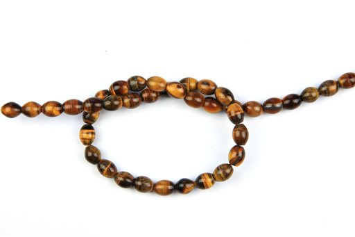 Yellow Tiger Eye, 8x10mm, Rice Shape Beads