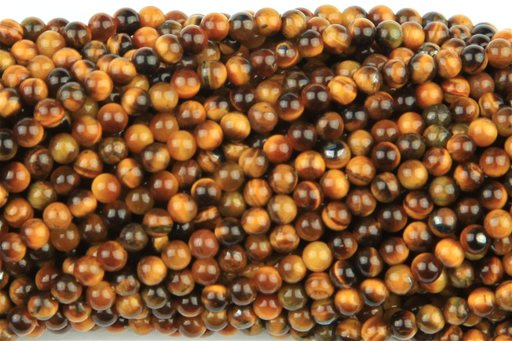 Yellow Tiger Eye, 2mm, Round Shape Beads
