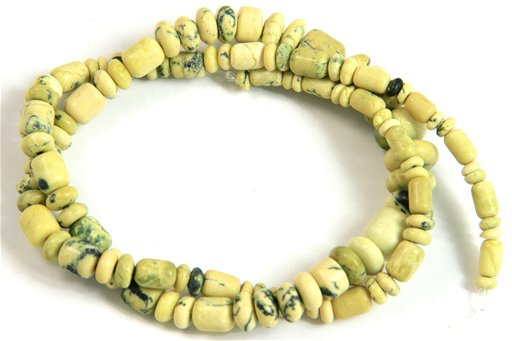 Yellow Turquoise, 3-10mm, Barrel Rondelle Assorted Shape Beads