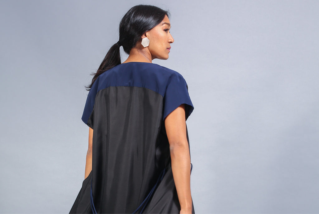 Hex Wrap Dress - Black and Navy