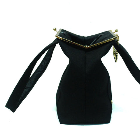 Day Clutch - woman bag with straps Black - Gold/Nickel
