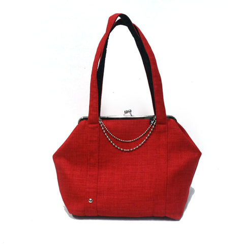 Day Clutch - woman bag with straps Red - Gold/Nickel