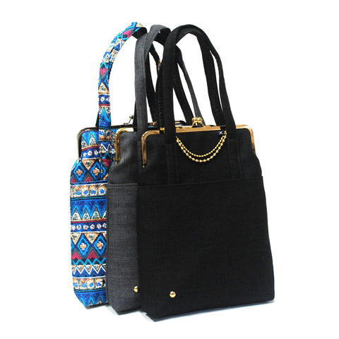 13'' laptop bag with straps - Blue pattern