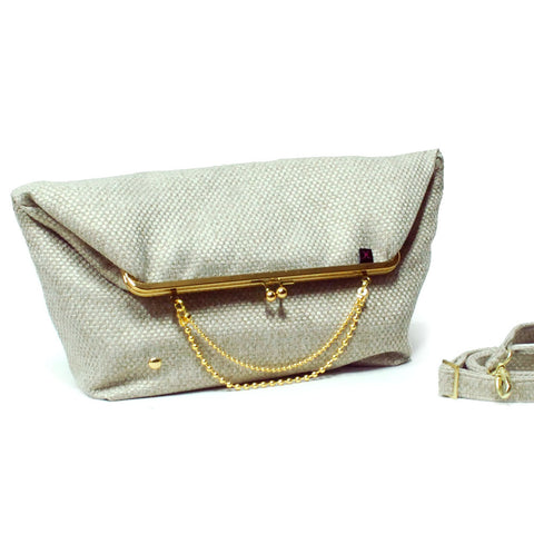 Beige - Gold/Nickel Big Fold Clutch Bag - woman bag, removable strap