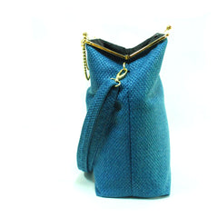 Blue - Gold/Nickel Big Fold Clutch Bag - woman bag, removable strap