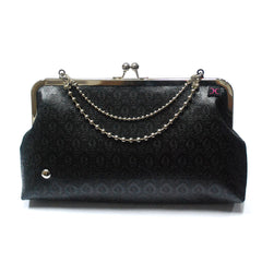 Black Flowers Evening Clutch - Nickel Clasp