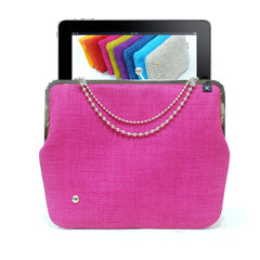 Pink iPad case - gold/nickel clasp