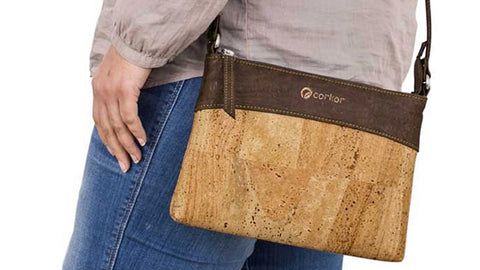 Brown and Natural Cork Crossbody Bag