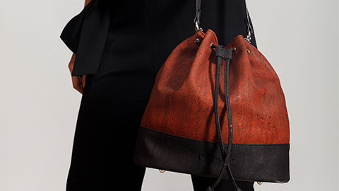 Cork Bucket Bag in Red