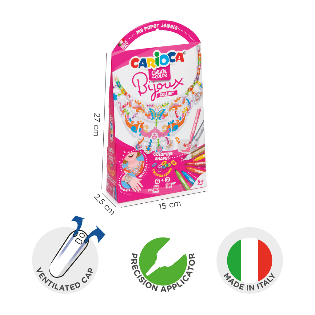Gioiellini da colorare con 6 Mini Pennarelli superlavabili e 2 Glitter Glue BIJOUX EMOTICS - 1 pz