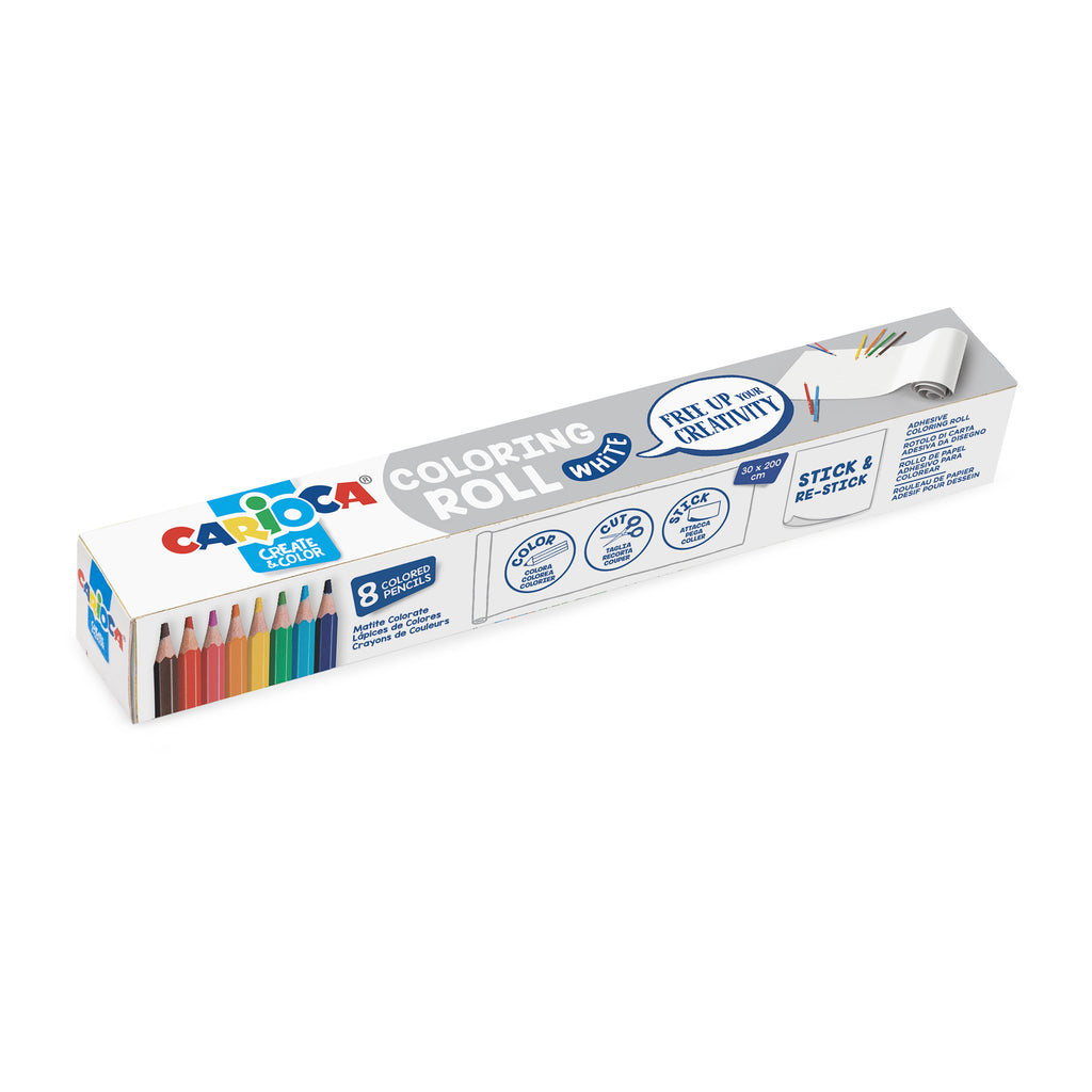 Rotolo di carta adesiva da colorare con 8 Matite Colorate COLORING ROLL - WHITE