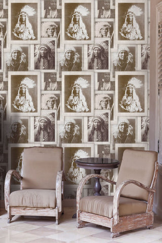 MindTheGap Indian Chiefs Sepia Wallpaper - Contract Furniture Store