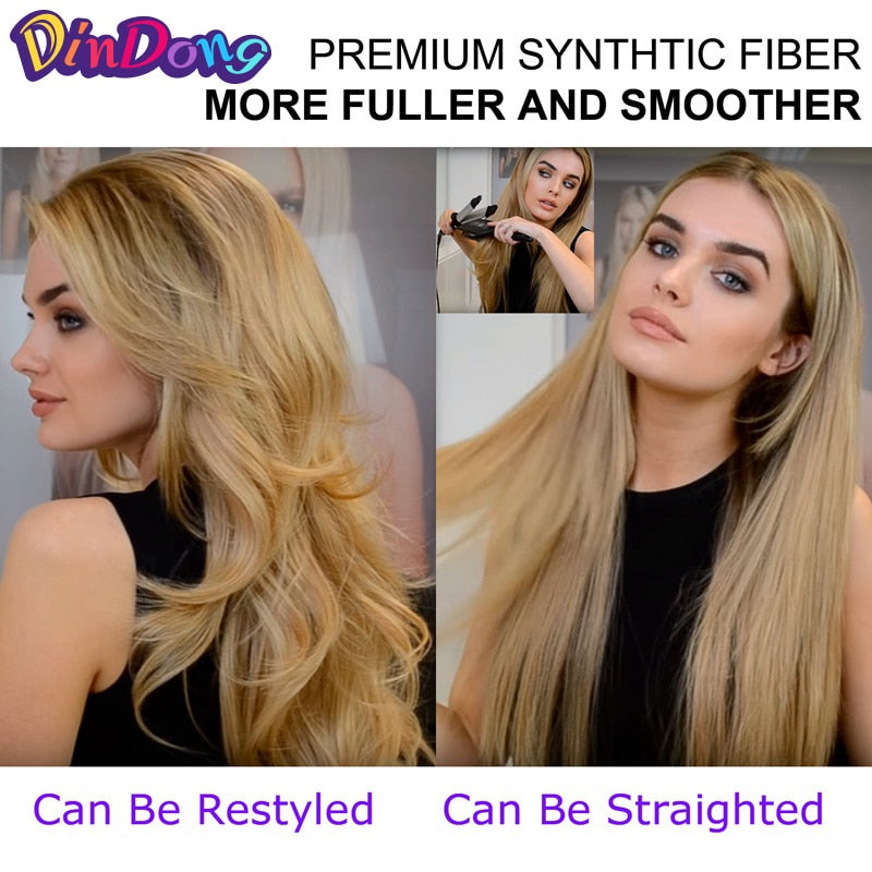 3/4 Half Wig Clip in Hair Extensions Premium Heat Resistant Synthetic Hair