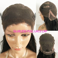 Full Lace Wigs With Bangs Baby Hair Silky Straight Brazilian Remy Human Hair Wig Pre Plucked