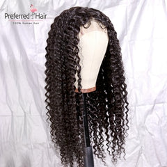 Lace  Brazilian Remy Prep-lucked Curly Human Hair Wig Glueless Lace Front Preferred Transparent