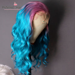Transparent 13x4 Remy Brazilian Glueless Lace Front Human Hair  Preplucked Ombre Wig