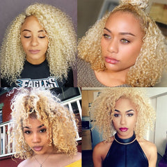 Honey Blonde Kinky Curly Lace Front Transparent Lace Short Bob Human Brazilian  Wig