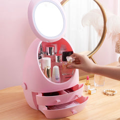 LED Mirror Makeup Storage Box Cosmetic Organizer Case