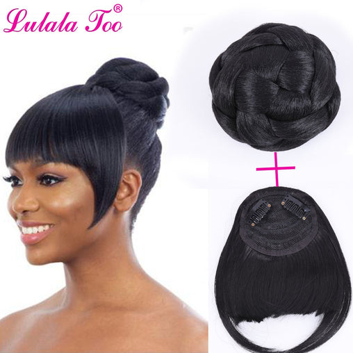 Synthetic Hair Bun And Bang Set Heat Resistant Fiber