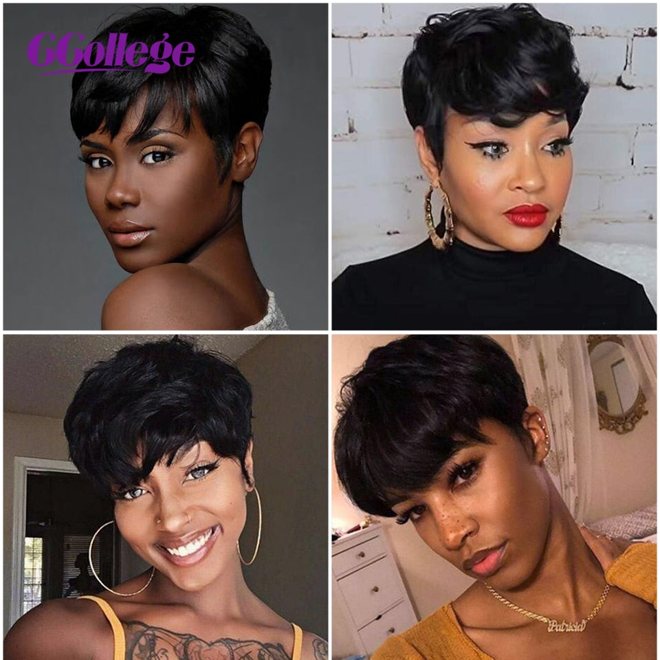 Straight Pixie Cut 100% Remy Human Hair Wig