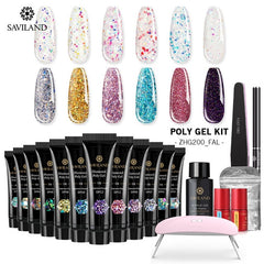 Glitter Polygel Nail Kit With Lamp Manicure Set Acrylic Extension  Professional set