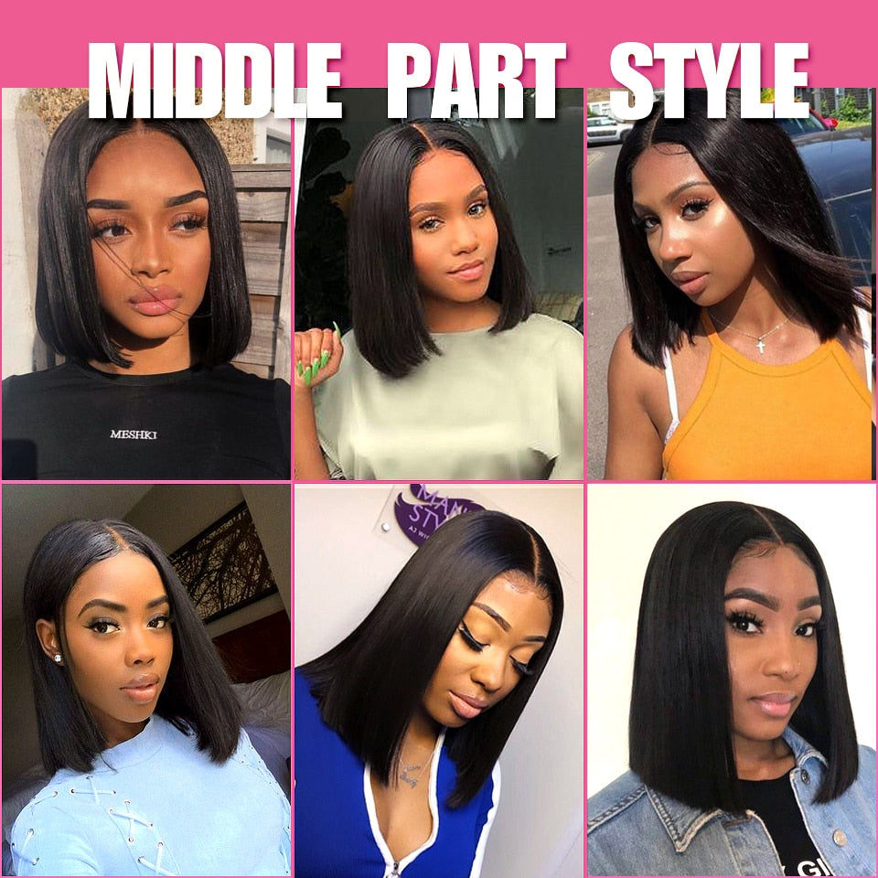 Straight Bob Brazilian Remy Human Hair Middle Part Lace Front