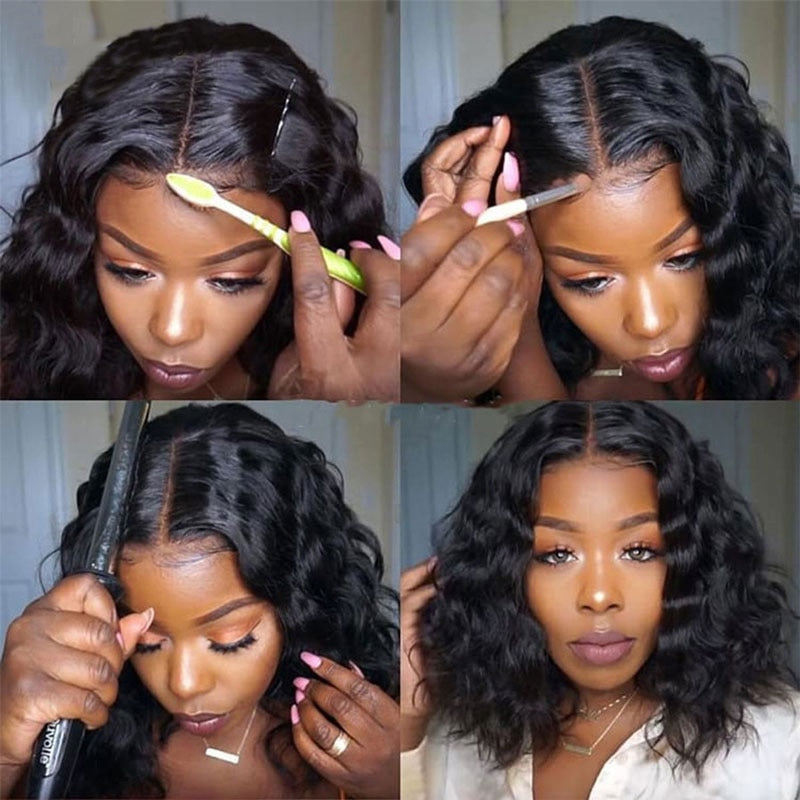 Loose Curl Bob Lace Part Glueless Brazilian Remy Human Hair Wig