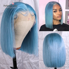 Light Blue Brazilian Remy Hair 613 Lace Front Wig Pre Plucked