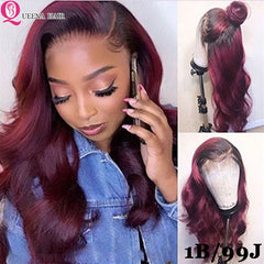 Ombre  Body Wave Human Hair  4x4 Lace Closure Wig