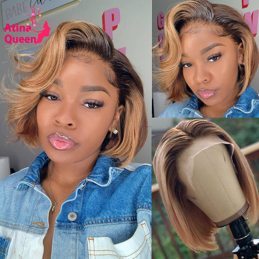 Short Bob Pixie Cut Honey Blonde Ombre Human Hair Wig