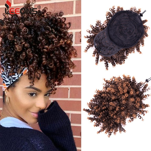 faux curly bangs and bun clip ins