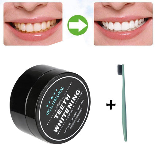 Teeth Whitening Activated Charcoal Powder + Bamboo Toothbrush