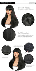 Natural Flat Bang Long Synthetic Wig