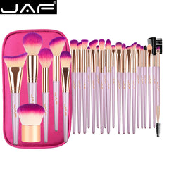 JAF 26pcs Gold Makeup Brush Set with Zipper Case Travel Cosmetic Bag
