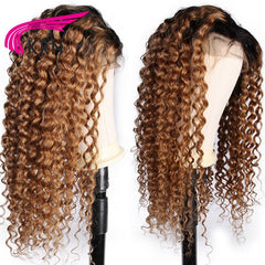 1B27 Ombre  Lace Front Curly Remy Pre Plucked Brazilian Human Hair Wig