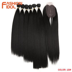 Straight Synthetic Yaki  Hair Bundles With Closure