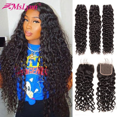 Water Wave Bundles With Closure Brazilian Remy Hair