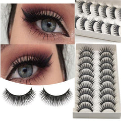 Eyelashes Black Natural Long 10Pc