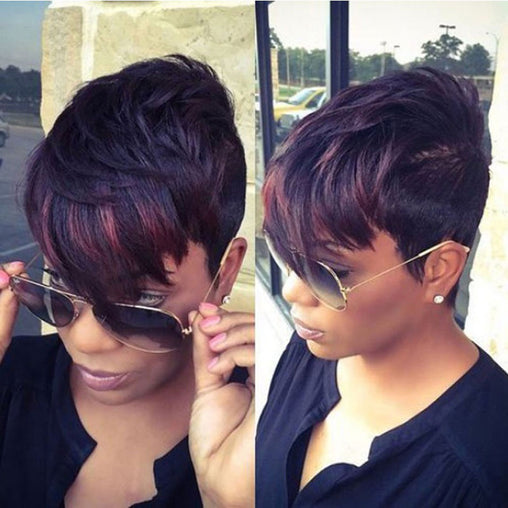 2 Tone Short Pixie Cuts Full Synthetic Wig
