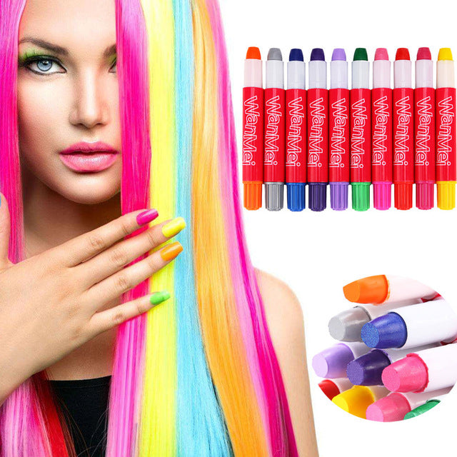 Rainbow Colour Disposable Hair Dye Crayon Temporary Hair Chalk Kit Hair Colour Pen Non-Toxic(10color)