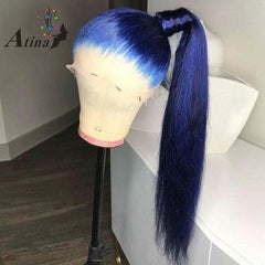 Blue Full Lace Human Hair Wig With Baby Hair Preplucked