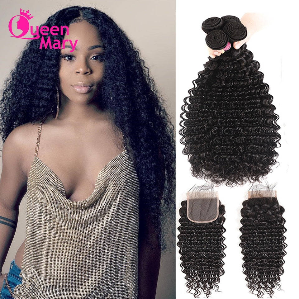 Brazilian Deep Wave Remy Human Hair Bundles With Closure