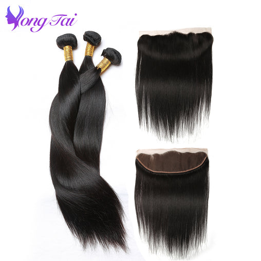 Straight Hair Bundles With Closure 3 Bundles with 1 Closure Malaysian Human Hair With Lace Frontal