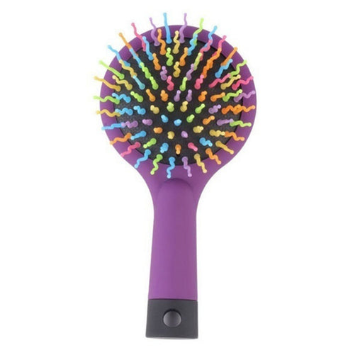 Portable Volume Rainbow Detangling Hair Comb with Mirror