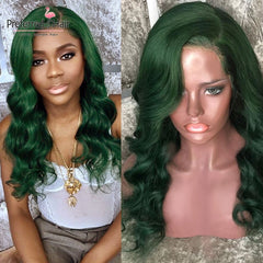 Green Body Wave Brazilian Human Hair Lace Front Wig