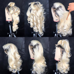 Body Wave 613 Blonde Lace Front PrePlucked Brazilian Virgin Human Hair Wig