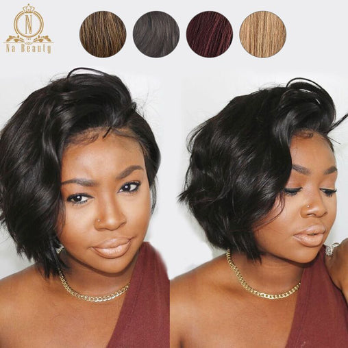 13x6 Short Bob Cut  Brazilian Remy Human Hair Lace Front Wig