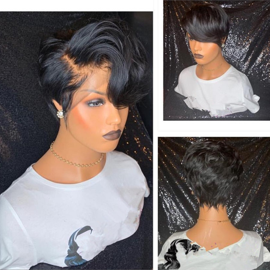 Short Wavy Brazilian Remy Hair Lace Front Wig