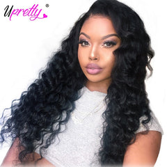 Loose Deep Wave Lace Front Wig PrePlucked Brazilian Remy