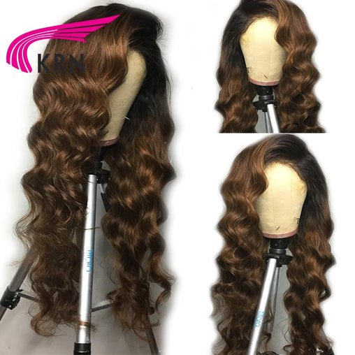 13X6 Ombre Human With Baby Hair Body Wave Pre Plucked Remy Brazilian Lace Front Wig